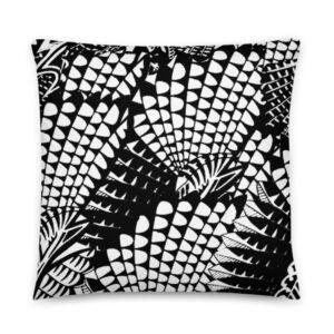 Coussin Abstrait Noir Blanc