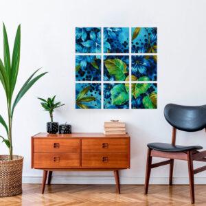 Décoration Murale Tropical Panthère Bleu
