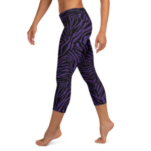 Leggings court Zèbre noir violet