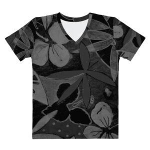 Floral Tropical Chic T-shirt à Col en V pour Femme