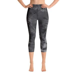 Legging de Yoga Court Tie Dye Noir Blanc