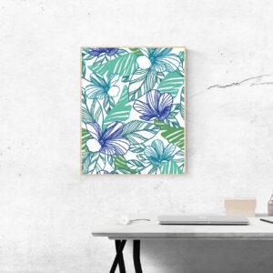 Poster Floral Bleu