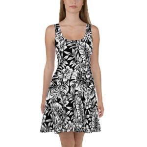 Robe d'été Tropical noir et blanc