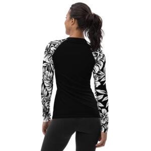 Maillot de Bain / Tshirt manches longues TROPICAL noir blanc
